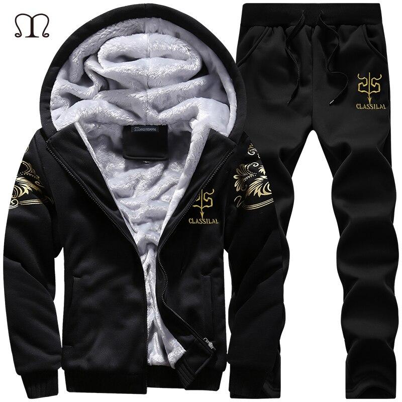 Winter Thick Inner Wool Hoodie Men Hat Casual Warm Suit Men Zipper Active Suits For Men Outwear + Pants Moletons Masculino 2019