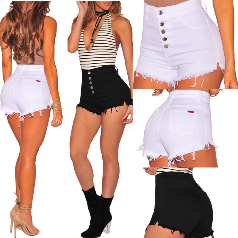 Summer High Waist Casual Shorts Women 2019 Summer Ladies Short Mini Jeans Ripped Short Femme