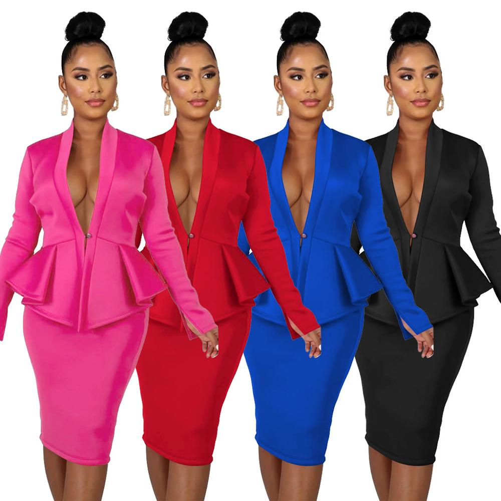 2 Piece Set Women Long Sleeve Women's Suit Office Female Two Piece Set Winter Two Pieces Skirt Sets