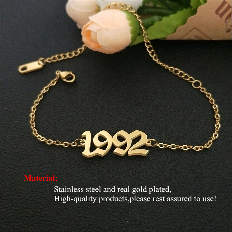 Stainless Steel Birth Year Anklets Silver Gold Old English Number 1995 Ankle Bracelet Foot Chain Party Accessories For Kids Gift 5