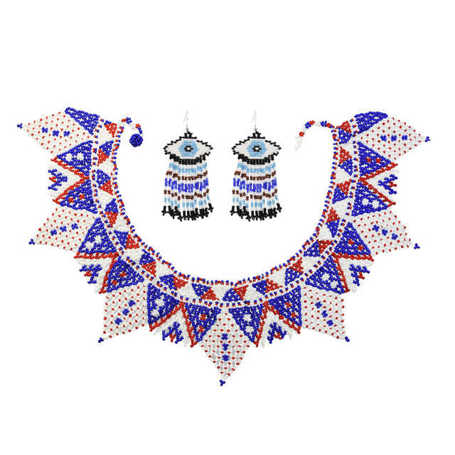 women necklace Tribal jewelry Maasai jewelry Multi strand beaded necklace Zulu necklace