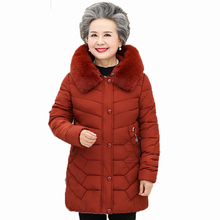 Grandma Winter Warm Puffer Hooded Jackets Green Navy Blue Red Fur Hood Quilted Parkas Elderly Womans Puff Outerwear Basic Coat