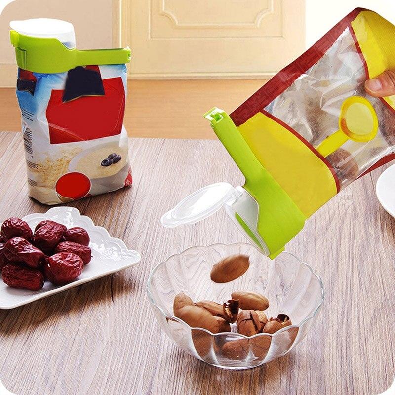 Storage Bag Clip Pour Food Sealing Storage Seal Sealer Freezer Fridge Clamp Cover Fresh Food Saver Reusable Travel Kitchen Tools