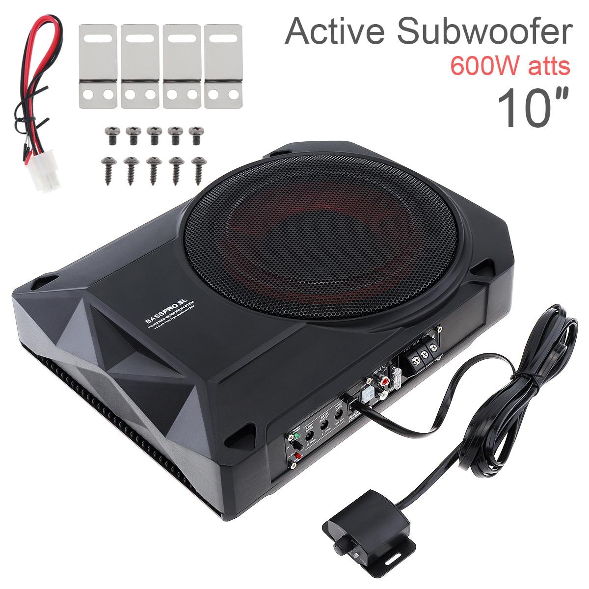 Universal 10 Zoll Auto Subwoofer Lautsprecher 600W Dünne Auto Unter Sitz Schlank Aktive Subwoofer Bass Verstärker Lautsprecher mit RCA eingang