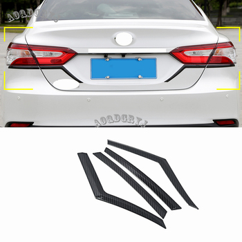 fit For Toyota Camry 2018 Cabron Fider Look & ABS Chrome Rear Tail Light Lamp Lower Eyelids Cover Trim garnish 4pcs