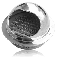 250mm Stainless Steel Exhaust Hood  Wall Wall Vent Cap Air Vent Bull Nose Bathroom Extractor Outlet Grille Louvres