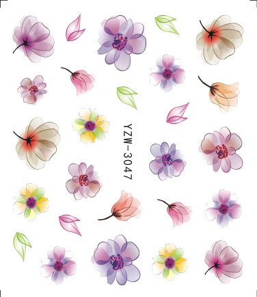 New Style Nail Sticker Ink Flower 3D Nail Sticker Flower Yzw3 Series Adhesive Paper Explosive Materials