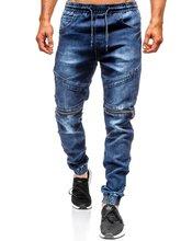 Повседневные мужские джинсы колени двойная молния эластичные джинсы мужские джинсы