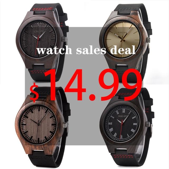 בובו ציפור קלאסי עגול שחור אבוני עץ שעונים עבור גברים עור קוורץ שעון במכירות להתמודד