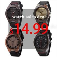 Bobo Bird 클래식 라운드 블랙 에보니 우드 시계 남성 가죽 쿼츠 시계 판매 거래