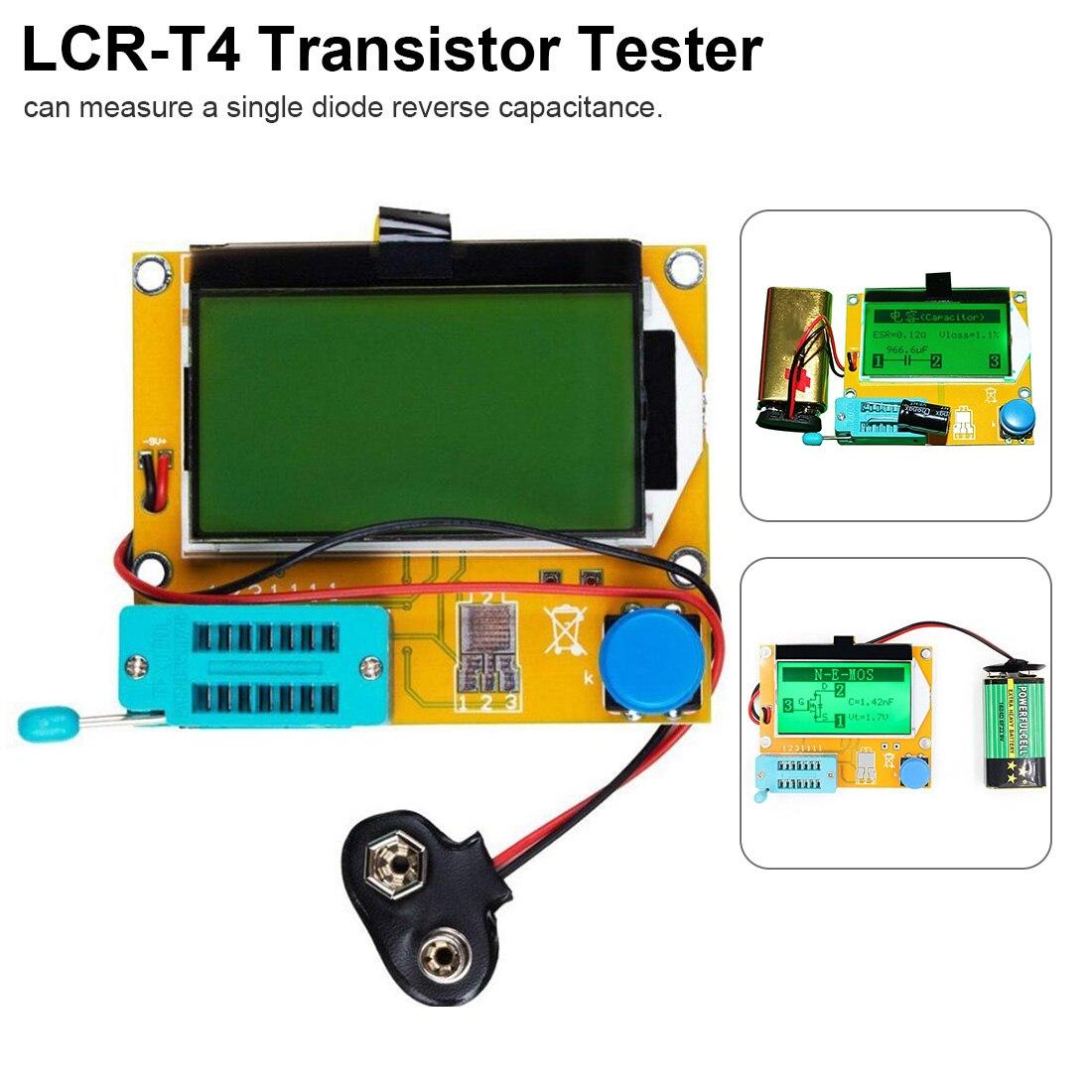 Medidor de esr transistor tester digital lcr mega328 v2.68 ESR-T4 diodo triode capacitância mos/pnp/npn lcr 12864 lcd tela tester