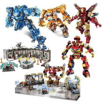 цена на Super War Machine Buster Marvel Ironman Heroes Avengers 4 Endgame Iron Man Batman Figures Building Blocks Movie Toys