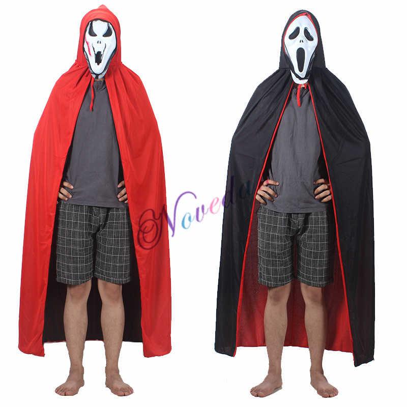 สีแดงสีดำแม่มดแวมไพร์ฮาโลวีนเสื้อคลุมเสื้อคลุม Hooded เด็กผู้ใหญ่เครื่องแต่งกายสำหรับผู้ชายผู้หญิงหญิงชายหญิง