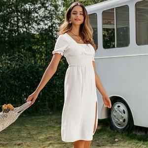 Image 3 - Simplee נשים פרע boho שמלה מקרית גבוהה מותן פנס כותנה המפלגה שמלת אונליין מוצק רך ליידי אלסטי אביב קיץ שמלה