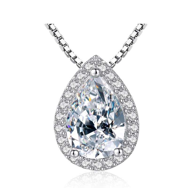Mewah Wanita Kristal Tetesan Air Besar Pedestrian Bridge Kalung Pernikahan Perhiasan 925 Sterling Silver Zirkon Kalung untuk Wanita