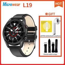 Original microfones l19 relógio inteligente bluetooth chamada ecg ip68 pressão arterial freqüência cardíaca rastreador de fitness l13 l15 l16 smartwatch