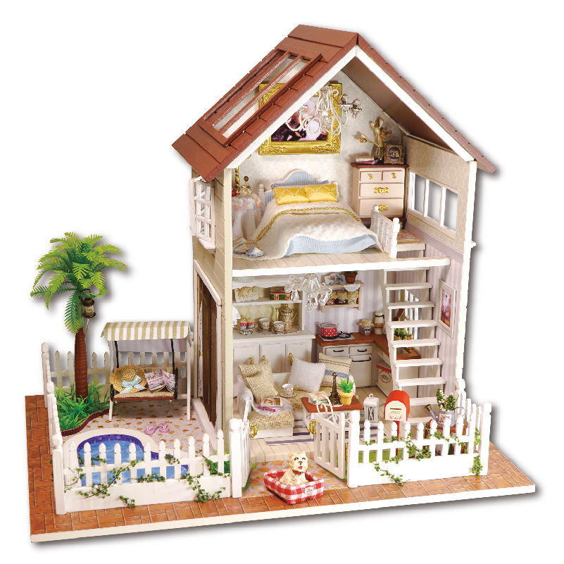 Assembling DIY Miniature Model Kit Wooden Doll House Paris Apartment Dollhouse Toys With Furniture Building Gift Free Shipping 2