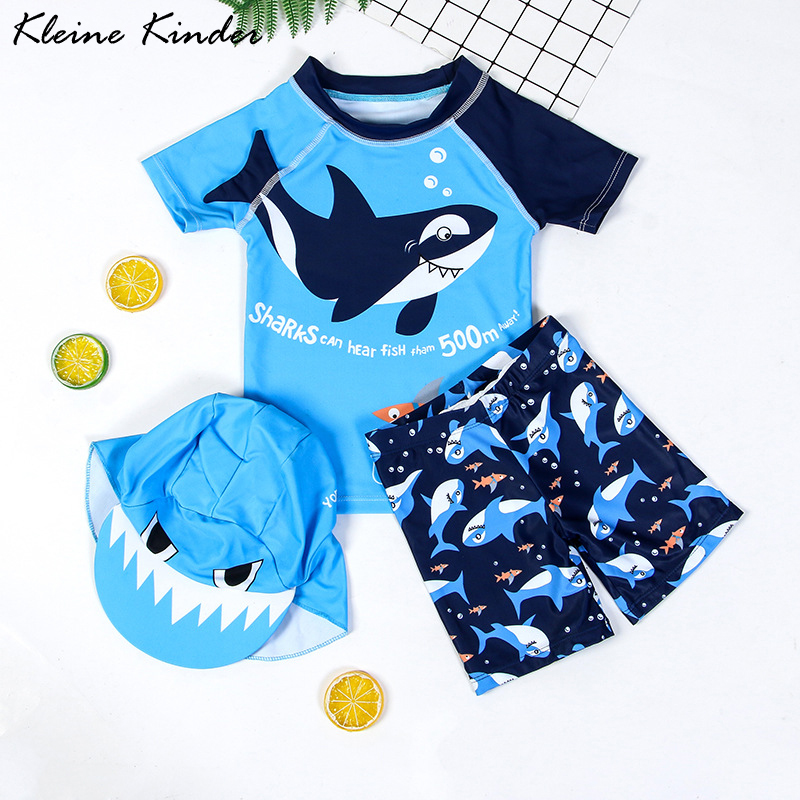 Boys Swimwear UPF50 Three Pieces Newborn Swimsuit Shark Print Infant Baby Bath Clothes Swimming Suit For Kids Pool Beach Wear