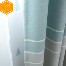 Simple Modern Nordic Curtains for Living Room Bedroom Cotton Shielding Striped Balcony Curtain Fabric