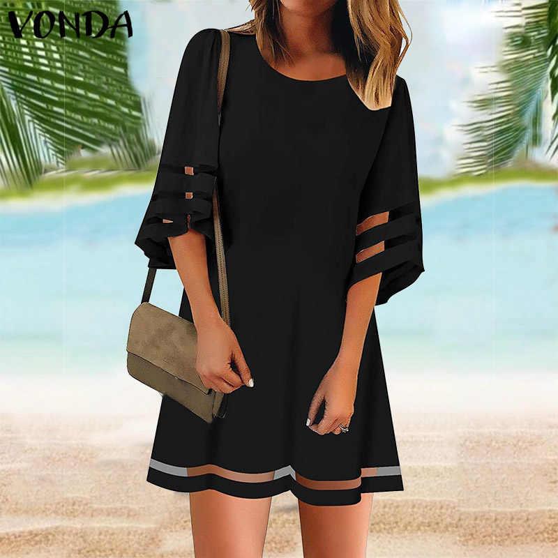 فوندا الصيف فستان أبيض المرأة خمر 3/4 مضيئة كم الجوف حفلة Vestido 2020 فستان مناسبات شاطئ فستان الشمس حجم كبير S-5XL
