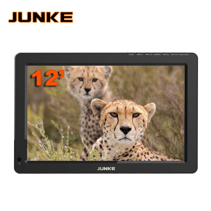 JUNKE Portable TV 12 Inch Digital And Analog Led Televisions Support TF...