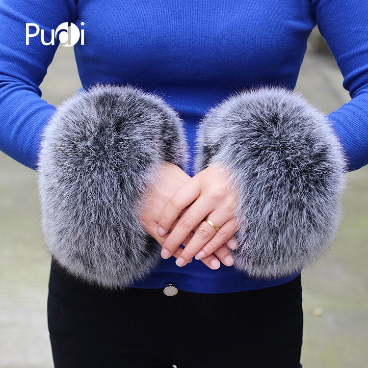 CUF702  Real Genuine High Quality  Fox Fur Cuff  Hand Wear Real Fox Fur Cuffs Black Beige White