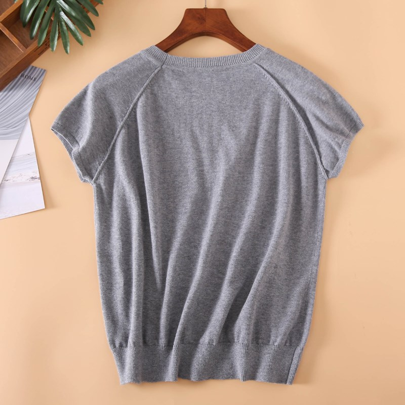 Round Collar Pure Color Cotton Pullovers Woman With Short Sleeves