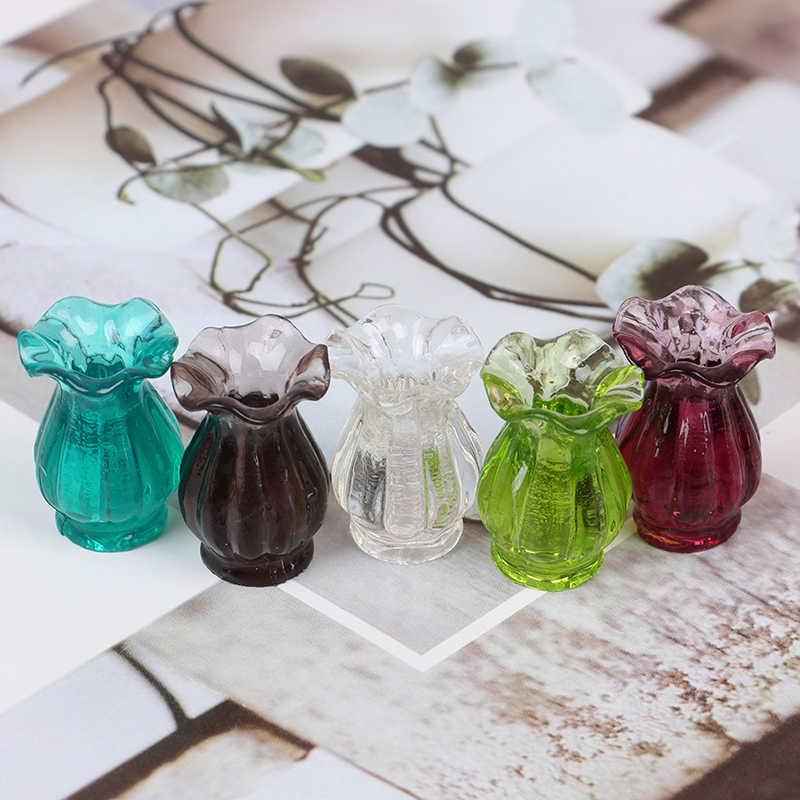 Poppenhuisminiaturen 1:12 Kleurrijke Mini Keramische Pot Diy Handgemaakte Poppenhuis Keuken Keramische Ornament Decora Vaas