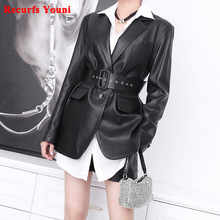 Suit Coat White-Jacket Genuine-Leather Women's Long-Sleeved Winter with Belt Clothing