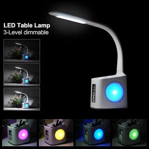 Image 3 - Study led desk lamp table lamp with pen holder usb port&screen&calendar&color night light dimmable led for kids students lamps