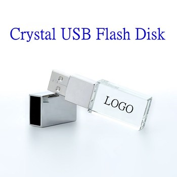 100pcs Custom Logo USB 2.0 or 3.0 Crystal Usb flash drives 4gb 8gb 16gb 32gb 64gb 3D with color light image