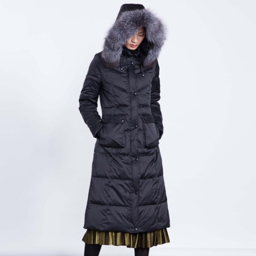 Winter Good Quality Thicker Warm Fluffy 90% Real Duck Down Coat Female Fox Fur Coat Hooded Thicker X-long Warm Down Coats Wq127