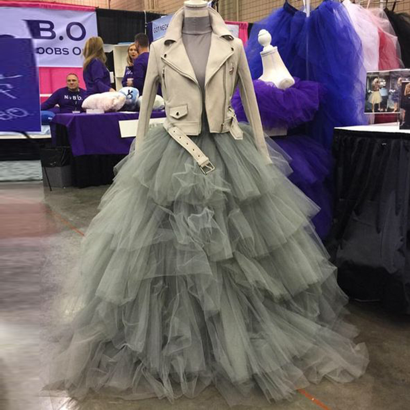 Gray Ball Gown Tulle Tutu Skirt For Women Lush Puffy Tiered Ruffles Tulle Bridesmaid Skirt Prom Wedding Guest Gowns Custom Made