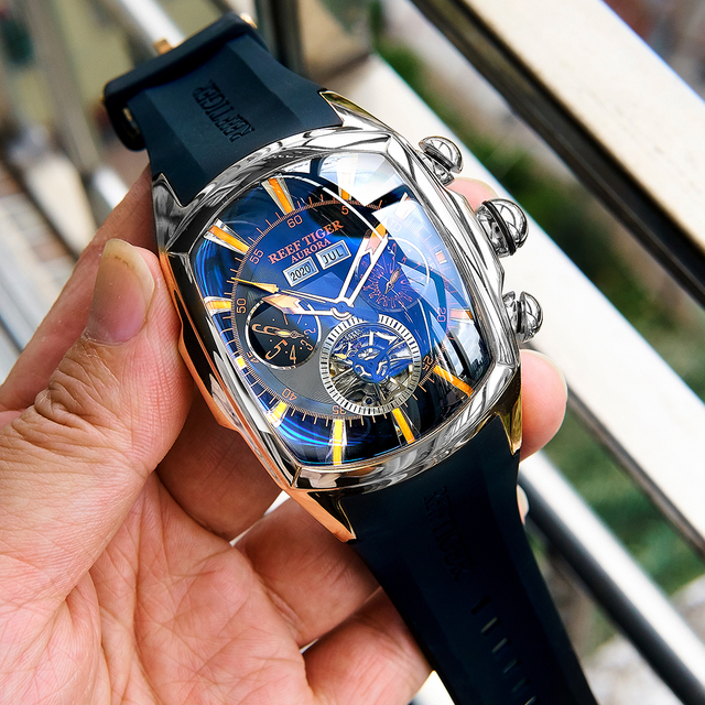 Reef Tiger/RT Designer Sport Watches with Tourbillon Stainless Steel Rubber Strap Blue Dial Automatic Watches RGA3069