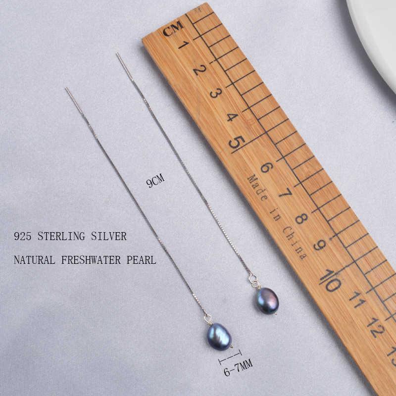 Ashiqi 925 Sterling Zilveren Lange Ketting Oorbel Hangers Voor Vrouwen Natuurlijke Zoetwater Parel Sieraden Cadeaus Voor Het Nieuwe Jaar