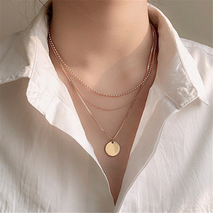 Multi Layers Chain Coin Pendant Necklace For Women 2020 New Temperament Jewelry Simple Necklaces Gifts