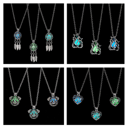 Rinhoo 2019 New glowing short Necklace Hollow heart Cat dog Dream catcher Halloween Luminous necklace charm women jewelry gift