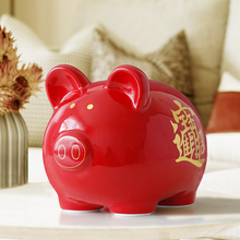 Ceramic Chinese Red Cute Pig Money box gift for Children kids piggy bank pig figurine coins saving storage