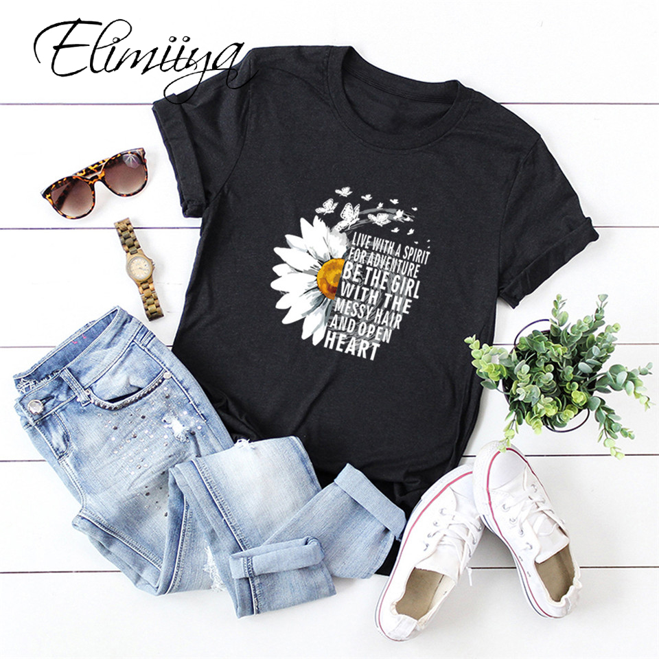 Elimiiy 100 Cotton T Shirt Women Chrysanthemum Print T-shirt Short Sleeve Graphics TShirts Tops Tees Slippers Woman Summer S-5XL