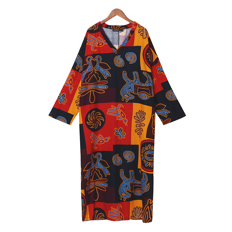 ZANZEA Women Summer Short Sleeve Cotton Linen Dress Vestido Robe Kaftan Femme Vintage V neck Floral Printed Party Sundress 5XL 18
