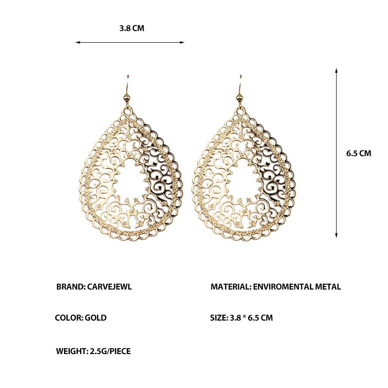 Carvejewl Copper Filigree Stamping Earrings High quality Korea design Gold color Round tear drop earrings for women girl jewelry