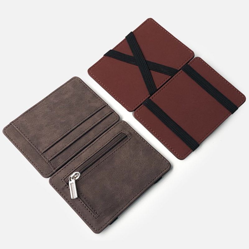 Men Wallet Small Size Magic Band Solid Color Card Holder Coin Purse UND Sale