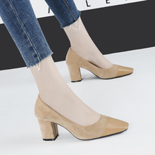 Women square toe pumps 7cm chunky Heels shoes patchwork Slip on sandals shallow Slides casual zapatos mujer black beige camel