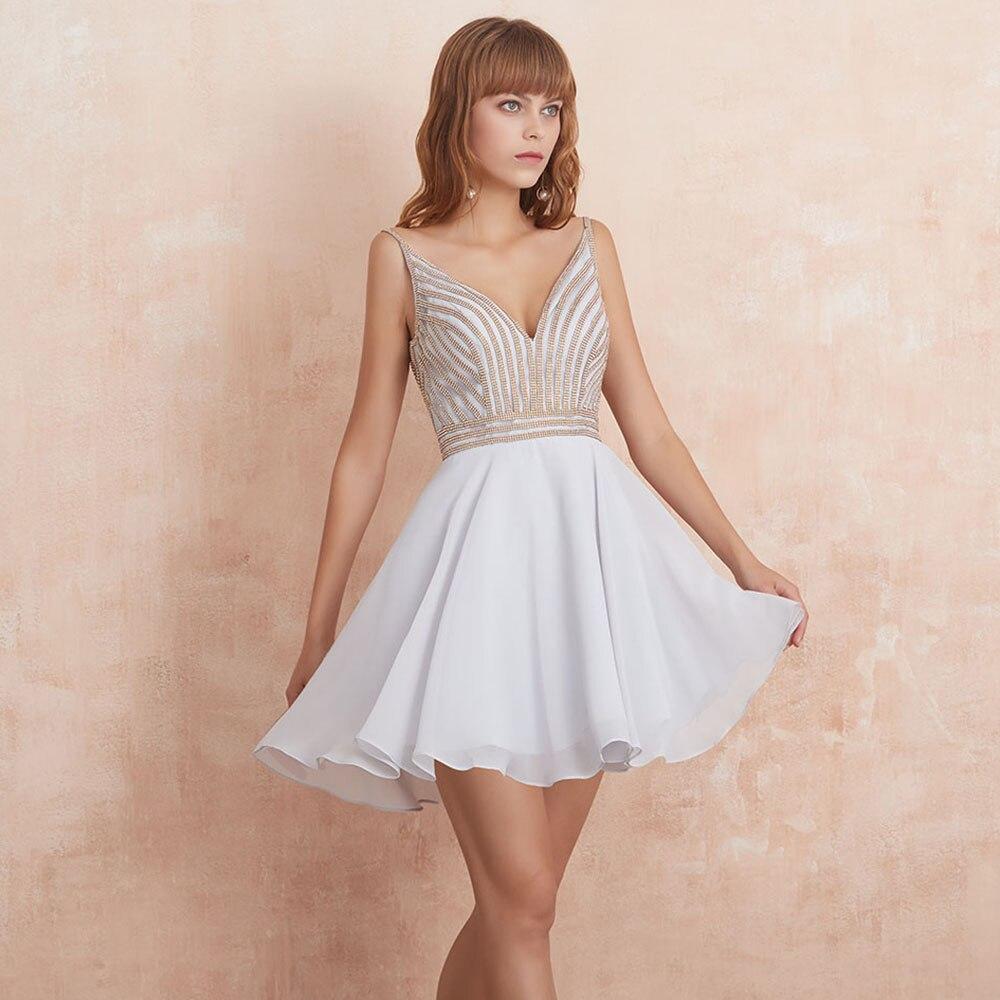 VKBRIDAL Sexy V Neck Short Prom Dresses 2019 New Chiffon Beaded Beading Cute Homecoming Dress with V Shaped Back