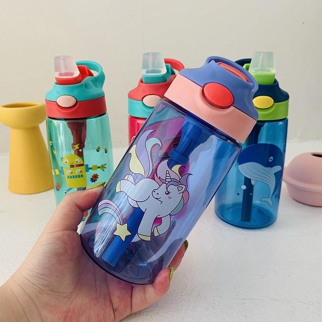 Pomo de agua niño niña ,480ml ,creativos dibujos animados.Pomos de alimentación con tubitos. Pomos a prueba de fugas.Calidad superior