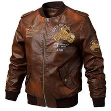 2019 new Leather Men Spring autumn Motorcycle Biker Jacket Coats Embroidery Bomber Pilot Jackets men