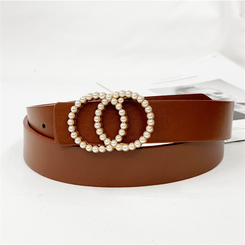 Designer Leather Belt Woman Pearl Ladies Waist Fashion Belts For Women Female Girls Ceinture Femme Jeans High Quality Black