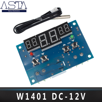 5pcs/lot  DC12V thermostat Intelligent digital thermostat temperature controller With NTC sensor W1401 led display 12v w1401 thermostat intelligent digital led display module thermostat 9 99 temperature controller ntc sensor module