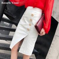 Faldas Mujer Moda 2019 Winter Womens Genuine Leather Simple Golden Buttons Midi Long Skirt Femme Slit Jupe Black/White Saias