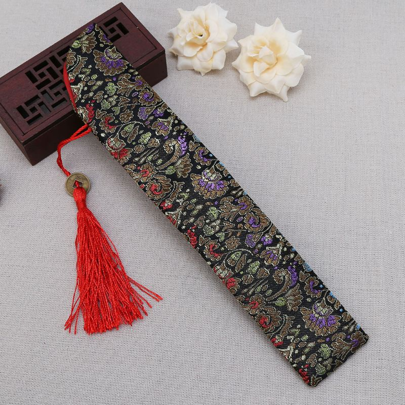Silk Folding Chinese Hand Fan Bag With Tassel Dustproof Holder Protector Pouch Case Cover Retro Style E65B